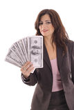 Woman showing off big money Royalty Free Stock Photos