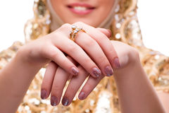 The woman showing off her jewellery rings in fashion concept Royalty Free Stock Photos