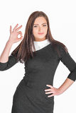 Woman showing OK gesture Stock Photo