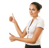 Woman showing ok gesture Stock Image