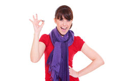 Woman showing the ok sign Royalty Free Stock Images
