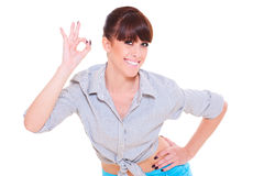 Woman showing the ok sign Stock Photography