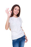 Woman showing ok sign Royalty Free Stock Photography