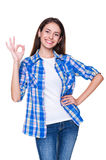Woman showing ok sign Royalty Free Stock Images
