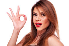 Woman showing ok sign Royalty Free Stock Image