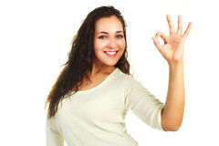 Woman showing the OK sign Stock Photos