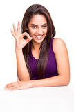 Woman showing OK sign Royalty Free Stock Photos