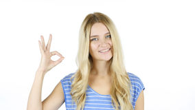 Woman Showing Ok Sign, White Background Stock Photos