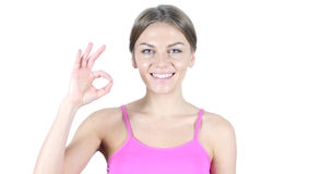 Woman Showing Ok Sign, White Background Royalty Free Stock Photos