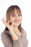 Woman showing okay gesture Royalty Free Stock Photos