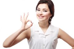 Woman showing okay Royalty Free Stock Images