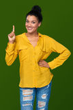 Woman showing one finger Stock Image