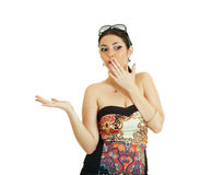 Woman showing open hand Stock Photo