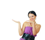 Woman showing open hand Stock Photography