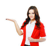 Woman showing open hand Royalty Free Stock Images