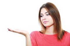 Woman showing open hand Stock Image