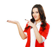 Woman showing open hand palm Royalty Free Stock Photos