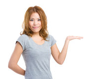 Woman showing open hand palm Stock Photo