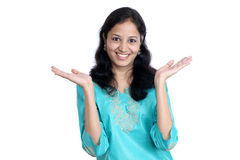 Woman showing open hands palm Stock Photo