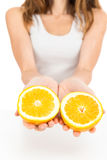 Woman showing orange halves. Woman holding halves of an orange in her hands. Isolated on white background stock photo