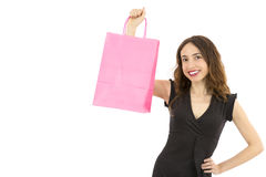 Woman showing paper shopping bag Stock Images
