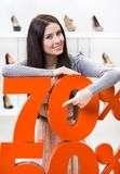 Woman showing the percentage of sales on heeled shoes Stock Images
