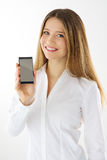 Woman showing phone Stock Image