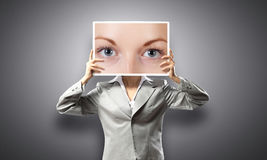 Woman showing photo Royalty Free Stock Photo