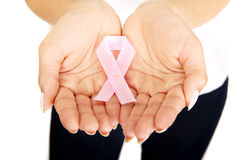 Woman showing pink ribbon. Royalty Free Stock Photo