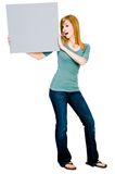 Woman showing placard Royalty Free Stock Photo
