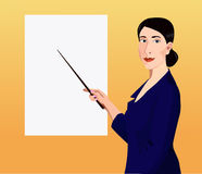 Woman showing by pointer to the poster Royalty Free Stock Image