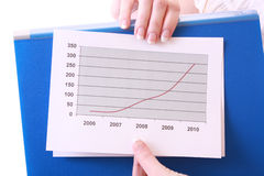 Woman showing positive chart Royalty Free Stock Photo