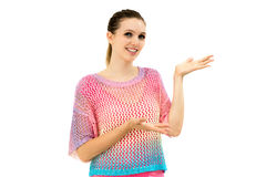 Woman showing and presenting copy space Royalty Free Stock Photo