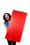 Woman showing red blank sign isolated. Woman screaming showing red blank sign billboard isolated on white Stock Images