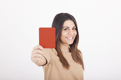Woman showing red card Royalty Free Stock Image