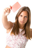 Woman Showing Red Card Stock Photo