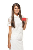 Woman showing red card in hand Stock Photography