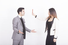 Businesswoman showing red card Royalty Free Stock Image
