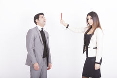 Businesswoman showing red card Stock Photo