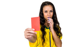 Woman showing red card Royalty Free Stock Photo