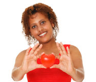 Woman showing red heart Stock Photos