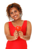Woman showing red heart. Stock Photography
