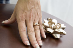 Woman showing ring Royalty Free Stock Photo