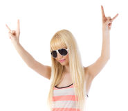 Woman showing the rock sign with her hands Stock Images