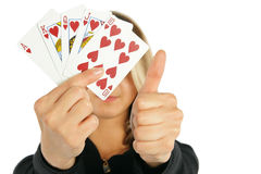 Woman showing royal flush Royalty Free Stock Photography