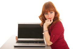 Woman showing screen laptop Stock Photography