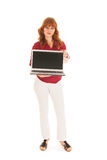 Woman showing screen laptop Stock Images