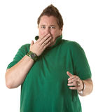Woman Showing Shock or Covering a Burp Stock Image