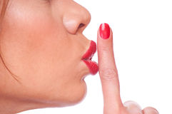 Woman showing shush Stock Image