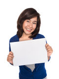 Woman showing sign Stock Photos